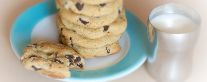 chocolate chip cookies and milk. Signature Chocolate Chip